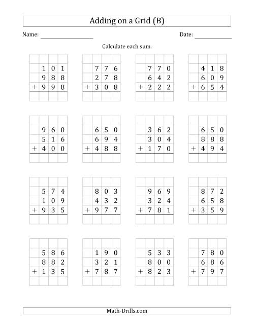 The Adding Three 3-Digit Numbers on a Grid (B) Math Worksheet