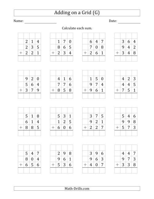 The Adding Three 3-Digit Numbers on a Grid (G) Math Worksheet