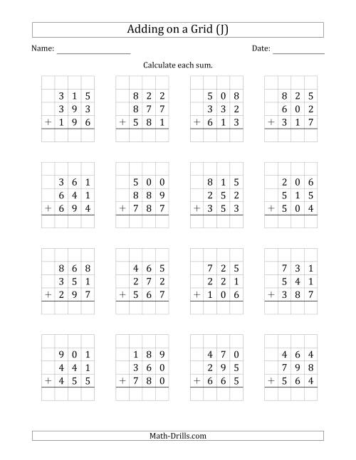 The Adding Three 3-Digit Numbers on a Grid (J) Math Worksheet