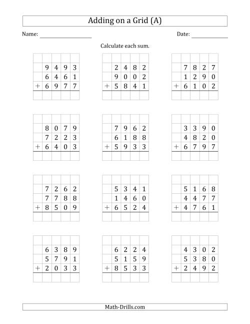 The Adding Three 4-Digit Numbers on a Grid (A) Math Worksheet