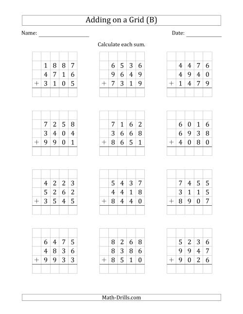 The Adding Three 4-Digit Numbers on a Grid (B) Math Worksheet