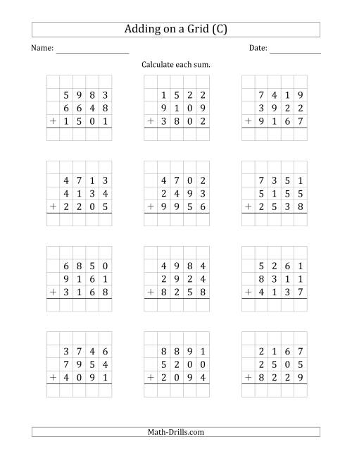 The Adding Three 4-Digit Numbers on a Grid (C) Math Worksheet