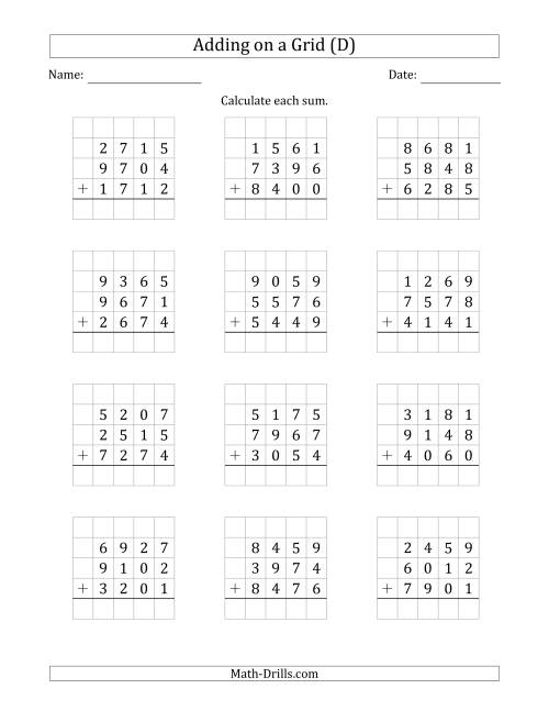 The Adding Three 4-Digit Numbers on a Grid (D) Math Worksheet