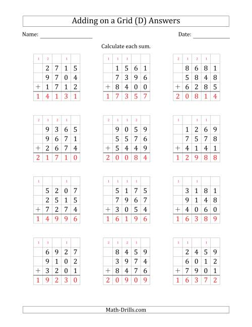 The Adding Three 4-Digit Numbers on a Grid (D) Math Worksheet Page 2