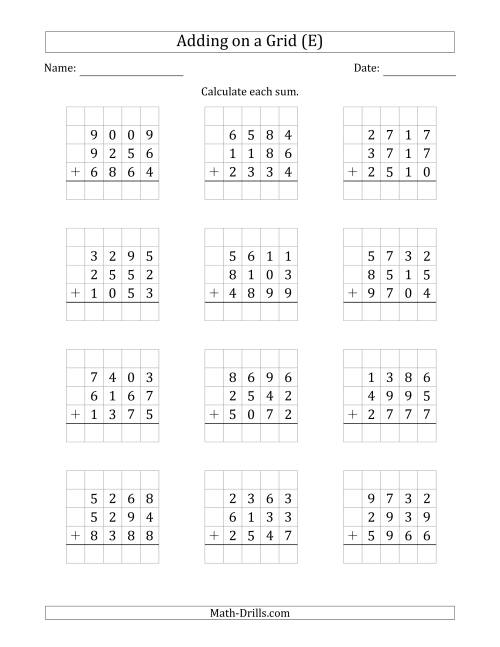 The Adding Three 4-Digit Numbers on a Grid (E) Math Worksheet