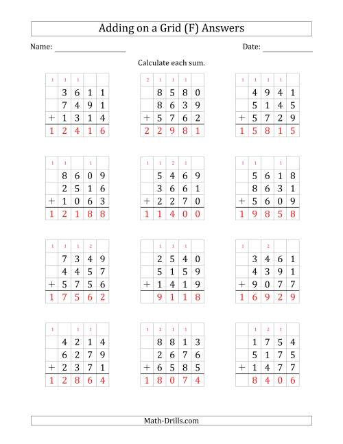 The Adding Three 4-Digit Numbers on a Grid (F) Math Worksheet Page 2