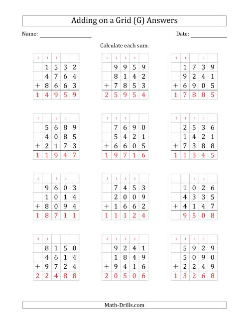 The Adding Three 4-Digit Numbers on a Grid (G) Math Worksheet Page 2