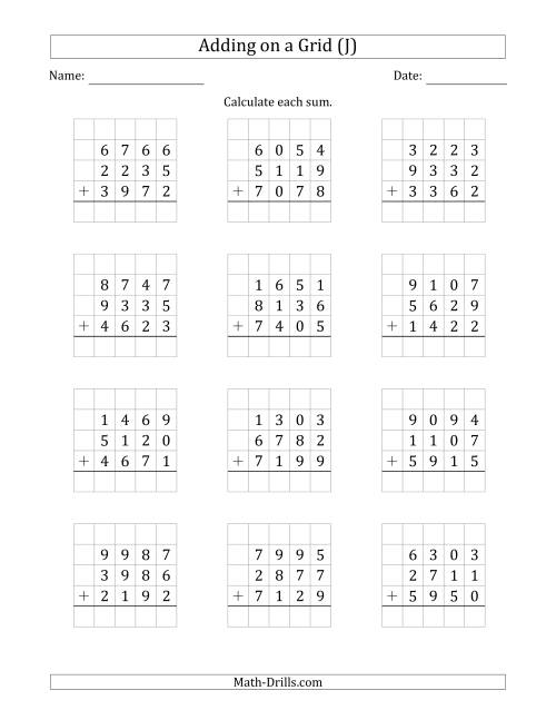 The Adding Three 4-Digit Numbers on a Grid (J) Math Worksheet