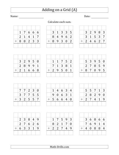 The Adding Three 5-Digit Numbers on a Grid (A) Math Worksheet