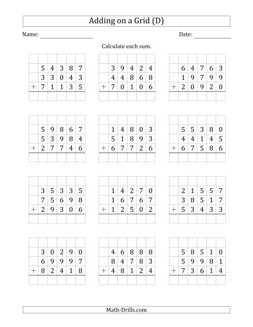 The Adding Three 5-Digit Numbers on a Grid (D) Math Worksheet