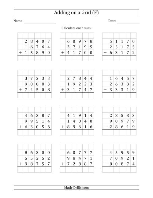 The Adding Three 5-Digit Numbers on a Grid (F) Math Worksheet