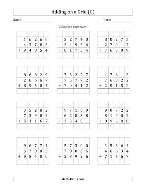The Adding Three 5-Digit Numbers on a Grid (G) Math Worksheet