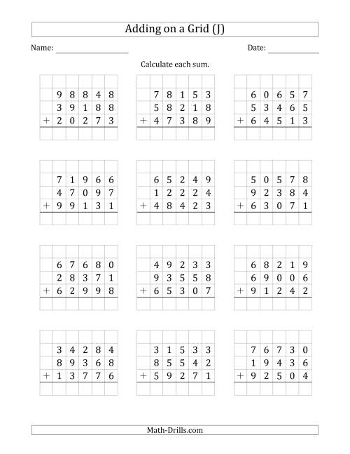 The Adding Three 5-Digit Numbers on a Grid (J) Math Worksheet