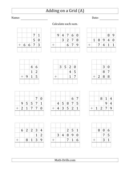 The Adding Three Various-Digit Numbers on a Grid (A) Math Worksheet