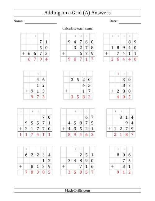 The Adding Three Various-Digit Numbers on a Grid (A) Math Worksheet Page 2