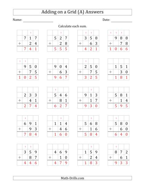 The Adding 3-Digit Plus 2-Digit Numbers on a Grid (A) Math Worksheet Page 2