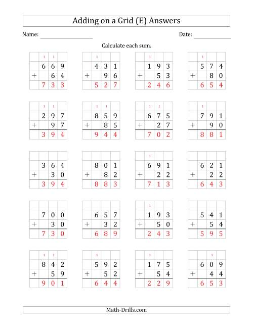 The Adding 3-Digit Plus 2-Digit Numbers on a Grid (E) Math Worksheet Page 2