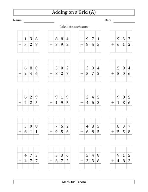 The Adding 3-Digit Plus 3-Digit Numbers on a Grid (A) Math Worksheet