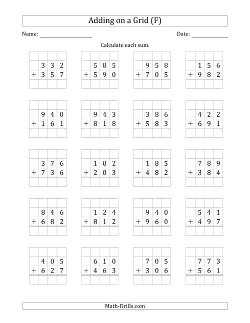 The Adding 3-Digit Plus 3-Digit Numbers on a Grid (F) Math Worksheet