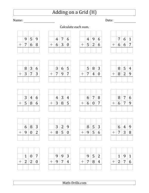 The Adding 3-Digit Plus 3-Digit Numbers on a Grid (H) Math Worksheet