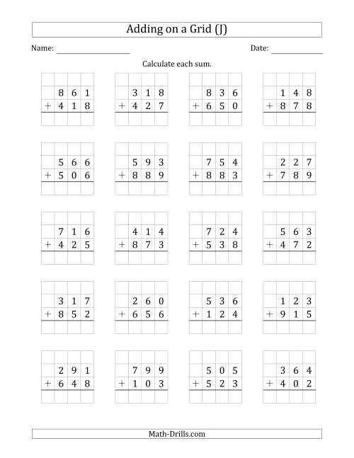 The Adding 3-Digit Plus 3-Digit Numbers on a Grid (J) Math Worksheet