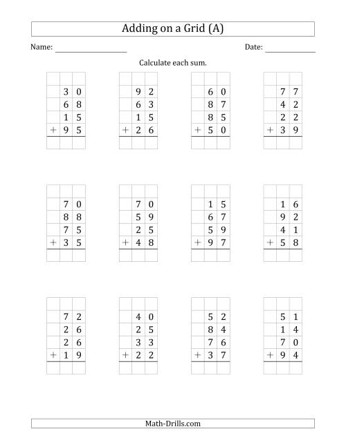 The Adding Four 2-Digit Numbers on a Grid (A) Math Worksheet
