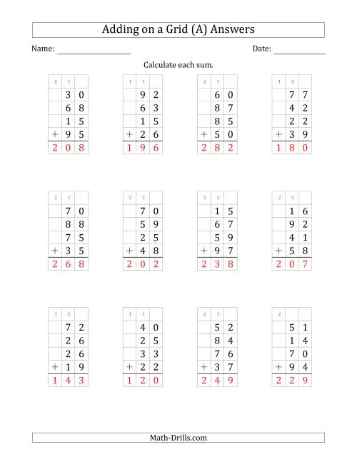 The Adding Four 2-Digit Numbers on a Grid (A) Math Worksheet Page 2