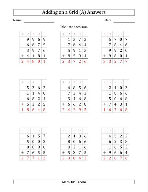 The Adding Four 4-Digit Numbers on a Grid (A) Math Worksheet Page 2