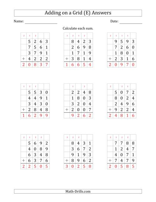 The Adding Four 4-Digit Numbers on a Grid (E) Math Worksheet Page 2