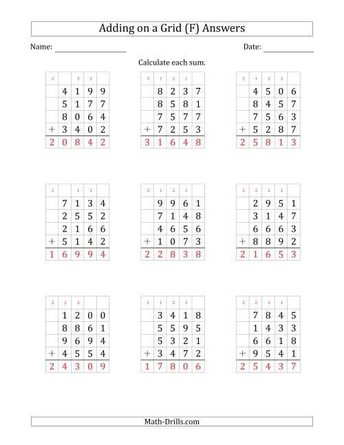 The Adding Four 4-Digit Numbers on a Grid (F) Math Worksheet Page 2