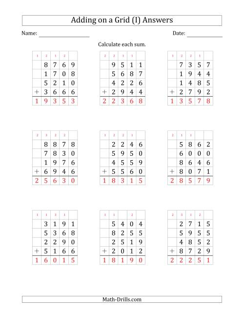 The Adding Four 4-Digit Numbers on a Grid (I) Math Worksheet Page 2