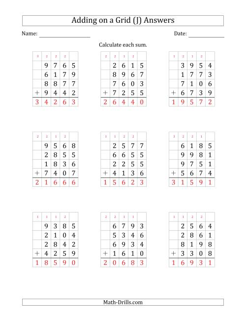 The Adding Four 4-Digit Numbers on a Grid (J) Math Worksheet Page 2