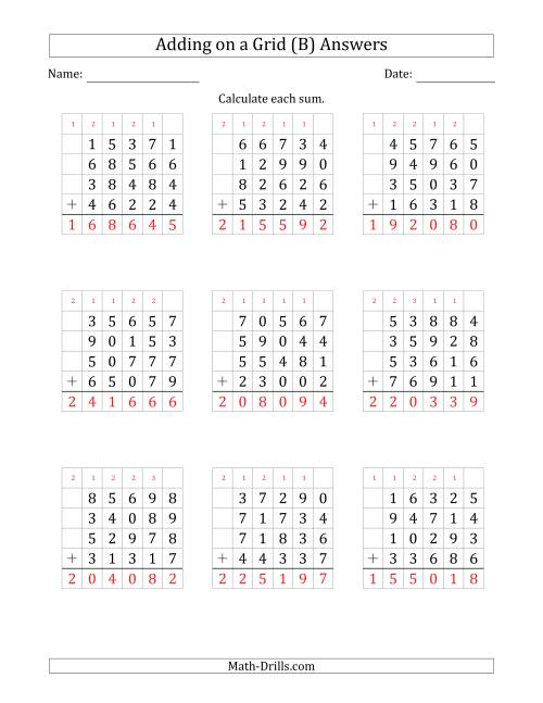 The Adding Four 5-Digit Numbers on a Grid (B) Math Worksheet Page 2