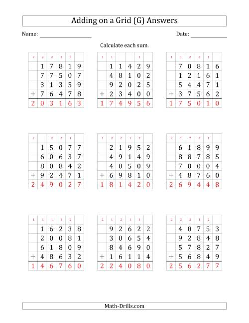 The Adding Four 5-Digit Numbers on a Grid (G) Math Worksheet Page 2