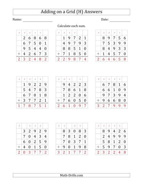 The Adding Four 5-Digit Numbers on a Grid (H) Math Worksheet Page 2