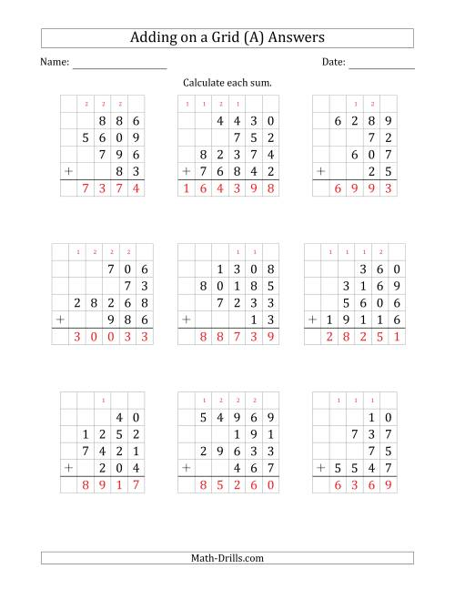 The Adding Four Various-Digit Numbers on a Grid (A) Math Worksheet Page 2
