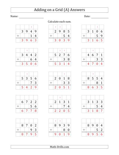 The Adding 4-Digit Plus 2-Digit Numbers on a Grid (A) Math Worksheet Page 2