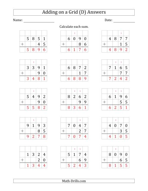 The Adding 4-Digit Plus 2-Digit Numbers on a Grid (D) Math Worksheet Page 2