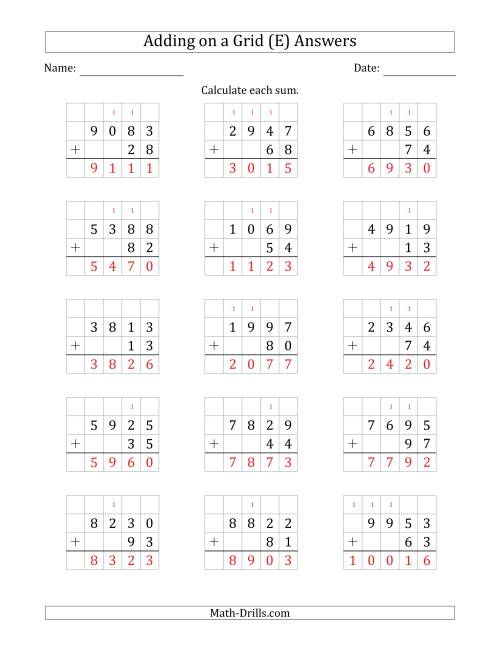 The Adding 4-Digit Plus 2-Digit Numbers on a Grid (E) Math Worksheet Page 2