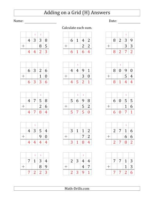 The Adding 4-Digit Plus 2-Digit Numbers on a Grid (H) Math Worksheet Page 2