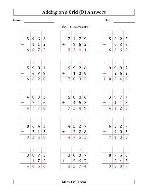 The Adding 4-Digit Plus 3-Digit Numbers on a Grid (D) Math Worksheet Page 2