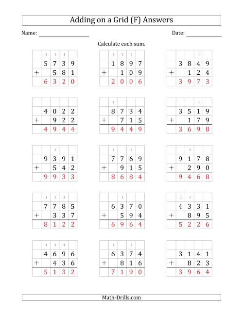 The Adding 4-Digit Plus 3-Digit Numbers on a Grid (F) Math Worksheet Page 2