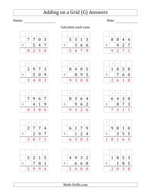 The Adding 4-Digit Plus 3-Digit Numbers on a Grid (G) Math Worksheet Page 2