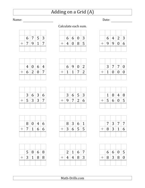 The Adding 4-Digit Plus 4-Digit Numbers on a Grid (A) Math Worksheet