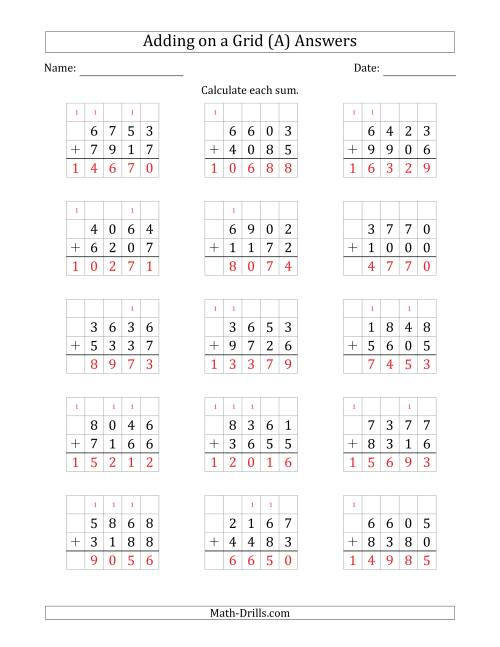 The Adding 4-Digit Plus 4-Digit Numbers on a Grid (A) Math Worksheet Page 2