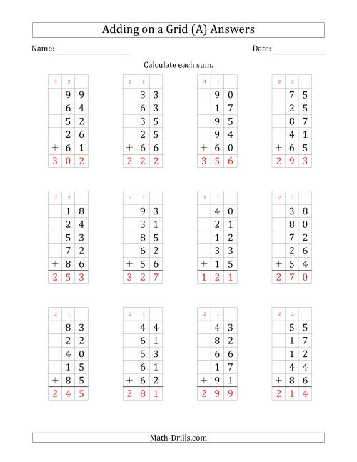 The Adding Five 2-Digit Numbers on a Grid (A) Math Worksheet Page 2