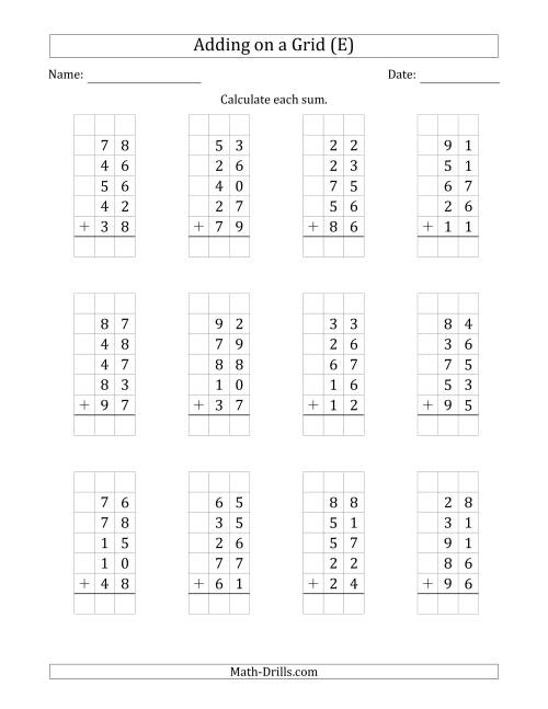 The Adding Five 2-Digit Numbers on a Grid (E) Math Worksheet