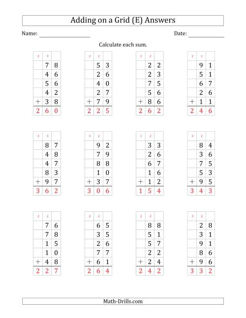 The Adding Five 2-Digit Numbers on a Grid (E) Math Worksheet Page 2