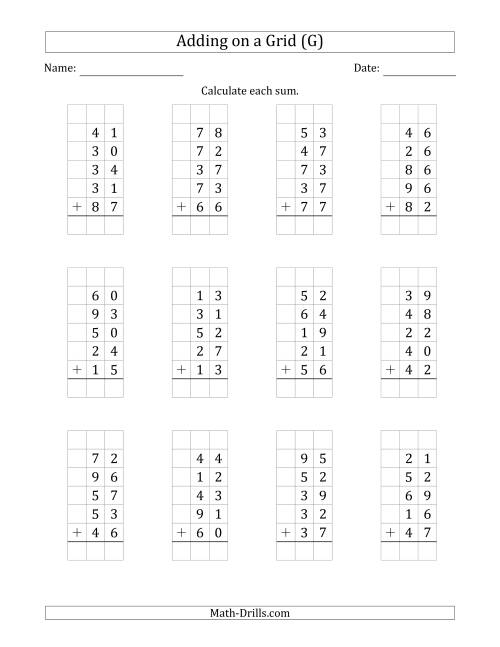 The Adding Five 2-Digit Numbers on a Grid (G) Math Worksheet