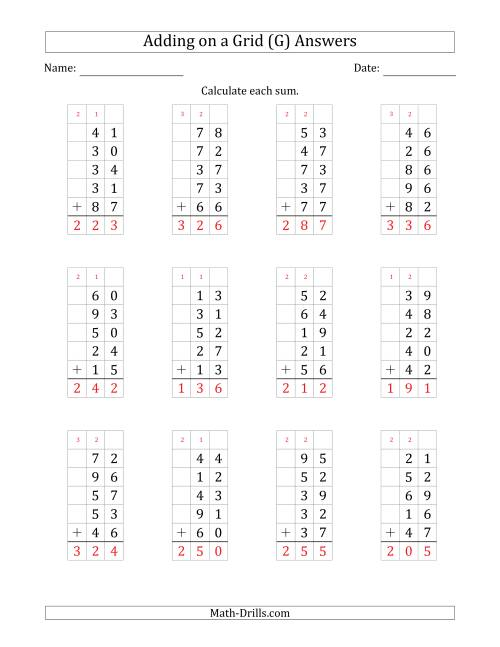The Adding Five 2-Digit Numbers on a Grid (G) Math Worksheet Page 2